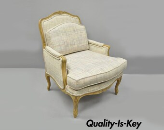 Vintage French Country Louis XV Style Upholstered Bergere Armchair Lounge  Chair