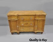 Knotty Pine French Country Primitive Sideboard Server Buffet Cabinet Glass Knobs