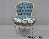 Antique French Louis XV Style White Distress Painted 5 Legged Boudoir Chair