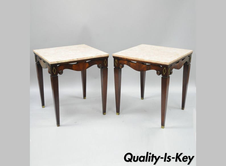 Pair Of Antique Pink Marble Top Mahogany End Tables Regency Square Weiman  Era
