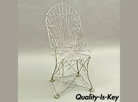Incredible Antique Victorian Steel Wire Metal Garden Side Accent Chair English Patio Short Links Chair Design For Home Short Linksinfo