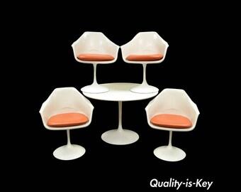 "Vintage Mid Century Modern Tulip Dining Set 42"" Table 4 Chairs Burke Saarinen"
