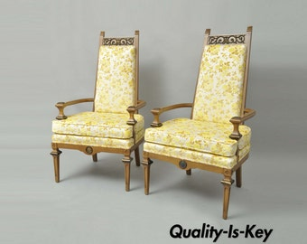 Wonderful Pair Vintage French Hollywood Regency Italian High Back Gold Fireside  Lounge Chairs