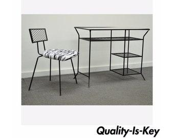 Vintage Mid Century Modern Wrought Iron Vanity Desk Chair Hairpin Salterini Style