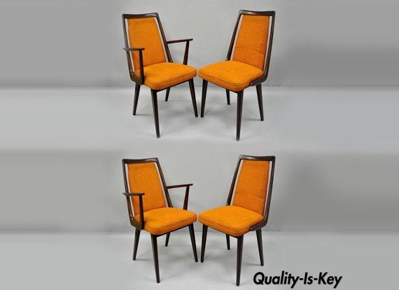 4 Vintage Mid Century Modern Danish Walnut Dining Room Chairs