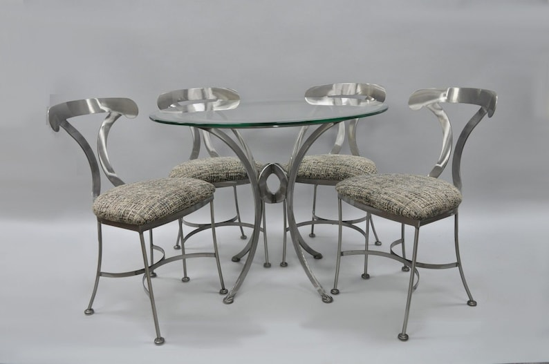 Shaver Howard 5 Piece Brushed Steel Modern Dining Set Round Glass Top Table 4 Chairs