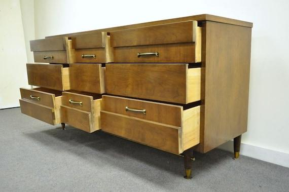 Danish Credenza Walnut : Vintage mid century modern bassett walnut long dresser chest etsy