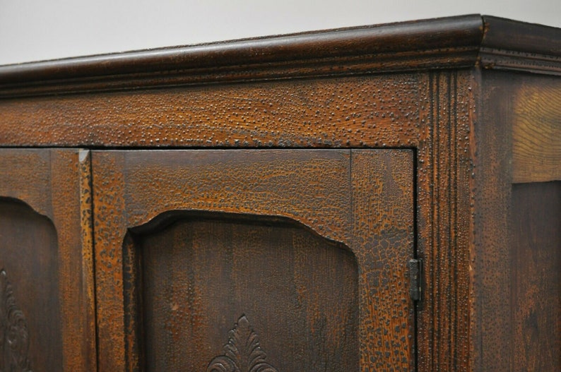 Antique Pine Wood Victorian Cupboard Cabinet Hutch with Alligatored Finish