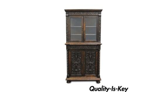 image 0 - Antique Corner China Cabinet Cupboard Renaissance Revival Belgian Carved Oak