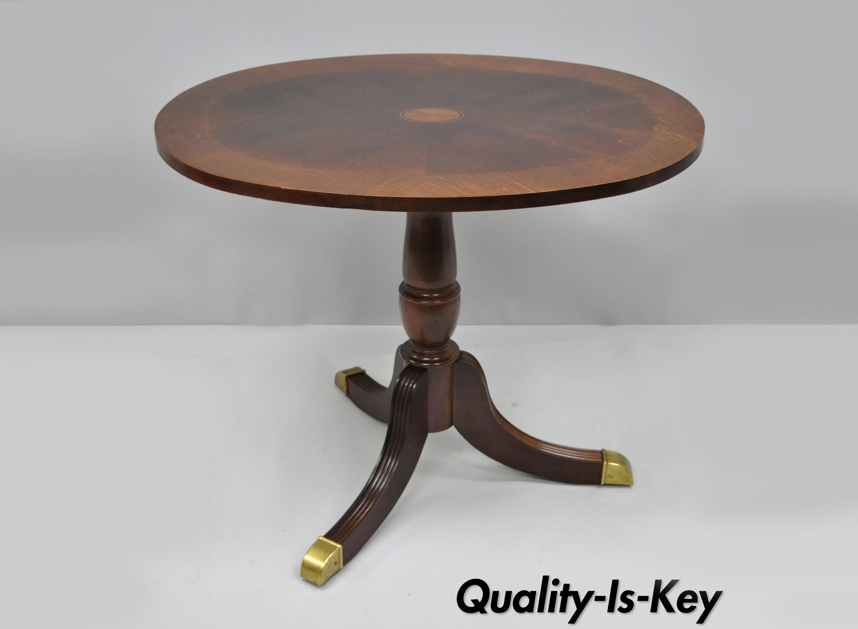 Banded Mahogany Pinwheel Inlay Oval Duncan Phyfe Side Coffee Etsy