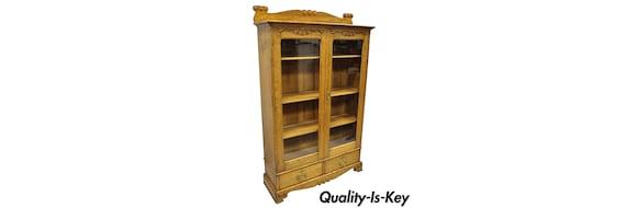 Antique Golden Oak Victorian Glass 2 Door Bookcase China Cabinet Curio 2 Drawers