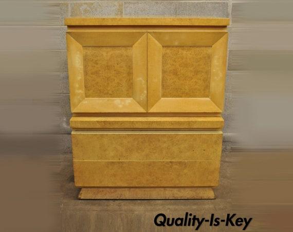 Mid Century Modern Burl Wood Art Deco Tall Chest Dresser By Etsy
