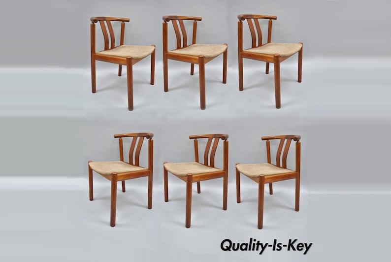 Enjoyable Uldum Danish Modern Teak Dining Chairs Curved Back With Rosewood Inlay Set Of 6 Machost Co Dining Chair Design Ideas Machostcouk