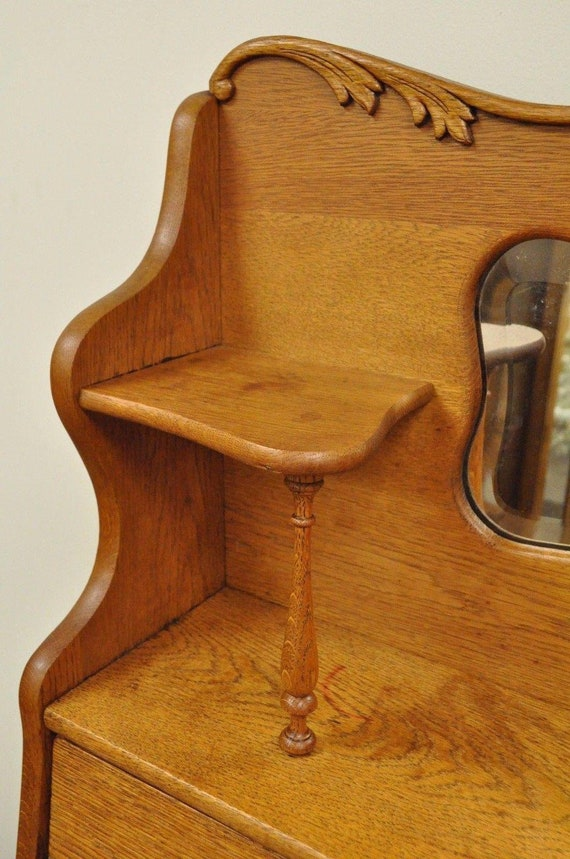 Antique Drop Front Secretary Desk >> Antique Victorian Golden Oak Slant Drop Front Secretary Desk Bookcase W Mirror