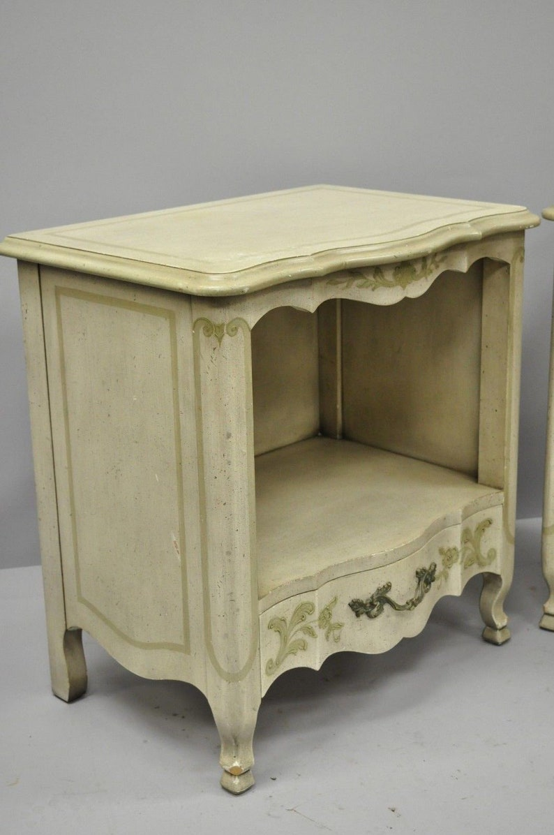 Pair John Widdicomb Country French Provincial Cream Paint Nightstands Bed Table