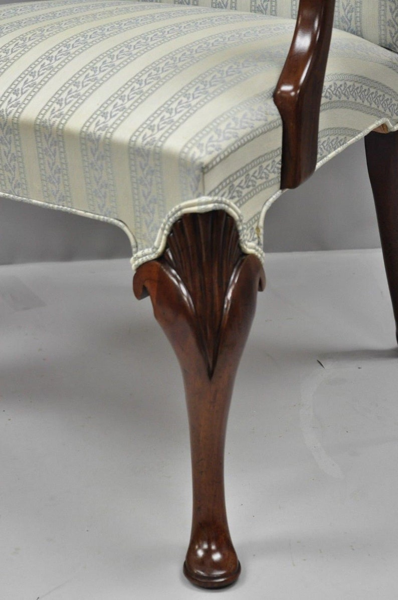 Pair Hickory Chair Co Queen Anne Style Armchairs Mahogany Library Dining Chairs