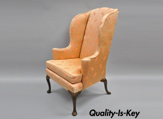 image 0 - Antique Queen Anne Wingback Armchair Chair Rolled Arms Etsy