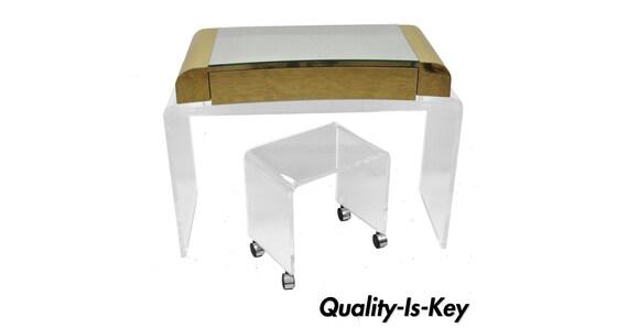 Groovy Lucite Waterfall Mirrored Vanity Table W Vanity Bench Brass Trim Chrome Wheels Machost Co Dining Chair Design Ideas Machostcouk