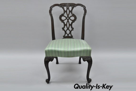Miraculous Antique Solid Mahogany Georgian Style Dining Side Chair Carved Ribbon Back C Machost Co Dining Chair Design Ideas Machostcouk