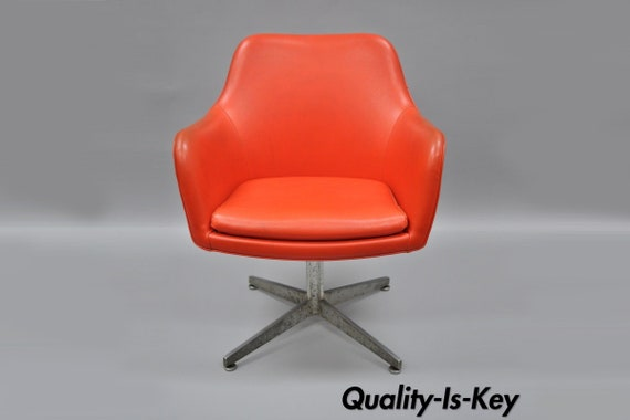 Superb Orange Vinyl Office Desk Chair Vintage Mid Century Modern Armchair By Good Form Ocoug Best Dining Table And Chair Ideas Images Ocougorg