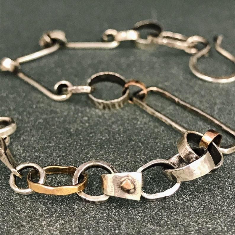 Argentium Sterling Silver and 14k Rose Gold Rustic Bracelet