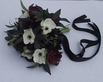 Black white bouquet etsy wedding flower package rustic wedding flowers bridal bouquet marsala black white burgundy maroon boho wedding anemones mightylinksfo