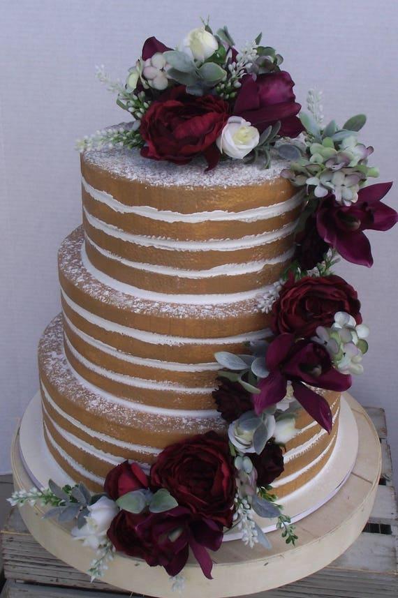 Gâteau De Mariage Fleurs Gâteau Mariage Bohème Vignoble De Mariage Fleurs De Bourgogne Vin Marsala Mariage Romantique Les Couleurs