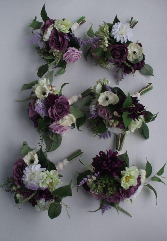 Boho Brautjungfern Bouquet Boho Hochzeitsblumen Lavendel Lila Pflaume Aubergine Lapislazuli Amethyst Hochzeit Rustikal Grun