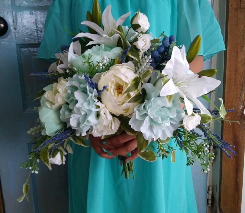 Woodland Wedding Bouquet Cascade Bouquet Navy Mint Bridal Bouquets Artificial Wedding Bouquet Silk Flower Bouqet Wedding Flowers