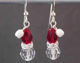 Crystal Santa Claus - Christmas Santa Hats - Christmas Earring - Ready to Ship Gift