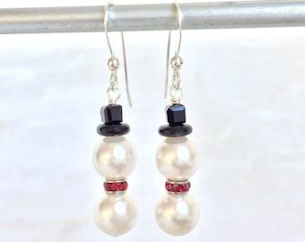 Snowman Earrings - Christmas Jewelry - Snowmen Jewelry - Christmas Snowmen - Christmas Gift Wife