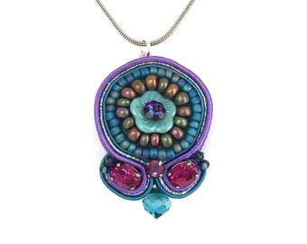 Soutache Pendant - Flower Necklace - Statement Jewelry - Embroidered Jewelry - Turquoise Pendant - Blue Beaded Bijoux - Beaded Medallion