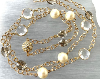Glass Pearl Chain - Long Crystal Station - Opera Length Pearls