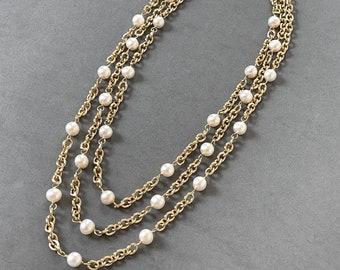 Pearl Station Chain - Three Strand Chain - Multi Strand Pearls