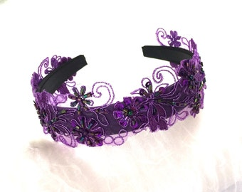 Sequined Lace Violet - Purple Beaded Floral