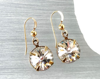 Vintage Crystal - Statement Earring - Large Round Bling