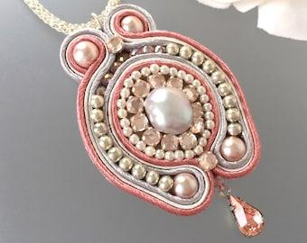 Soutache Pendant - Pink Pearl Necklace