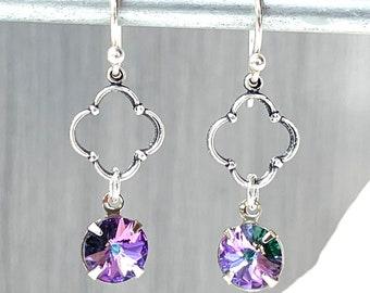 Vitrail Crystal - Color Changing - Fleur de Lis - Silver Quatrefoil