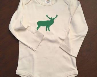 Elk Organic Cotton Baby Clothes Custom Screen Printed Onesie 12-18mo