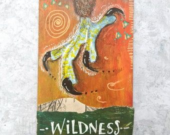Wildness - Original Hand Painted Wooden Oracle Card