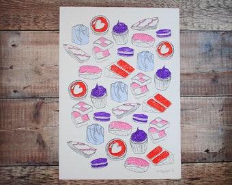 All The Sweet Stuff A3 Print - Screen Print - Food Illustration - Wall Art Decor - Decorative Print - Gift for Foodies
