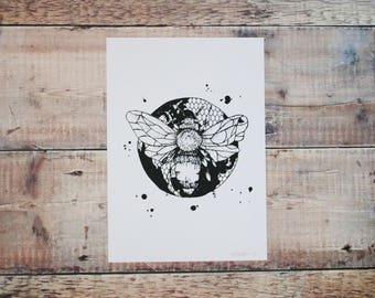 Bumble Bee A4 Print - Black & White Screen Print - Nature Illustration - Wall Art Decor - Decorative Print - British Bubble Bee