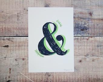 Grey & Green Ampersand A5 Print - Ampersand Screen Print -  Wall Art Print - Home Decor - Decorative Print