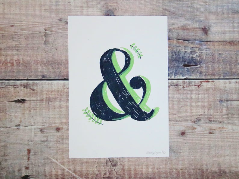 Grey & Green Ampersand A5 Print - Ampersand Screen Print - Wall Art Print -  Home Decor - Decorative Print