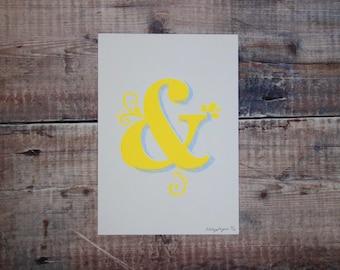 Yellow & Light Blue Ampersand A5 Print - Ampersand Screen Print -  Wall Art Print - Home Decor - Decorative Print