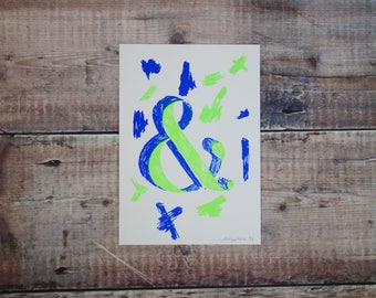 Lime Green & Blue Ampersand A5 Print - Ampersand Screen Print -  Wall Art Print - Home Decor - Decorative Print