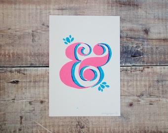 Pink & Green Ampersand A5 Print - Ampersand Screen Print - Wall Art Print - Home Decor - Decorative Print