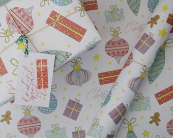 Gingerbread Man Wrapping Paper - Christmas Giftwrap - Christmas Baubles - Traditional Christmas - Festive Giftwrap - Illustrated Giftwrap
