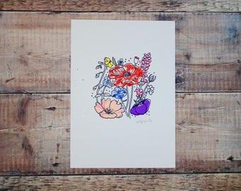 Garden Flowers A4 Print - Botanical Illustration - Floral Illustration - Decorative Print - Floral Artwork - Gift for Nature Lovers