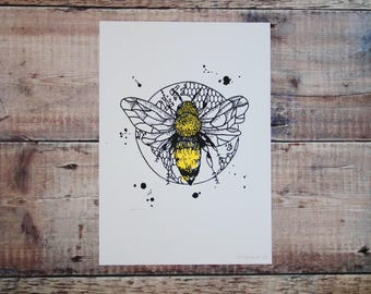 Bumble Bee A4 Print - Screen Print - Nature Illustration - British Bumble Bee - Wall Art Decor - Decorative Print